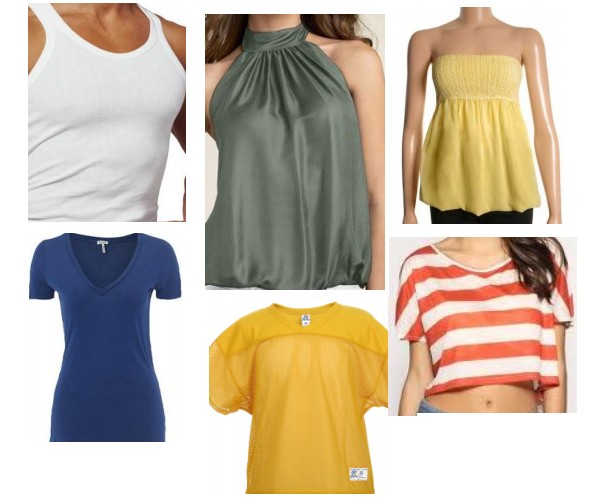 Tank top, halter top, strapless shirt, v-neck tee, cutoff shirt, mesh shirt