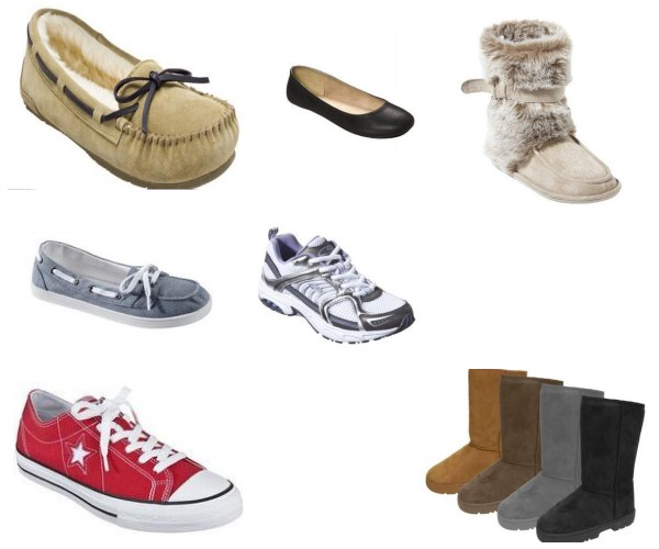 Converse sneakers, boat shoes, athletic shoes, ballet flats, moccasins, Ugg boots